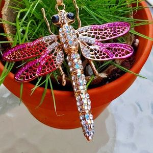 Jewelry - Pink Crystal & Enamel Dragonfly Gold Necklace